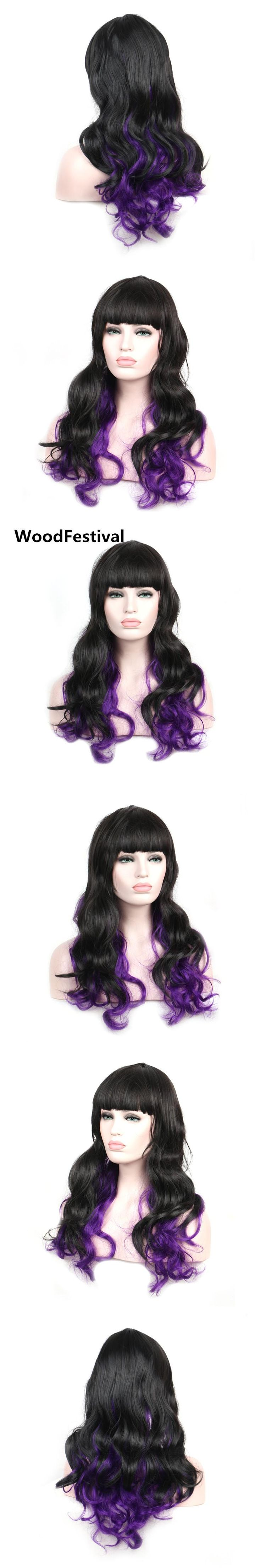 WoodFestival women black purple wig cosplay long synthetic wigs with bangs wavy hair heat resistant