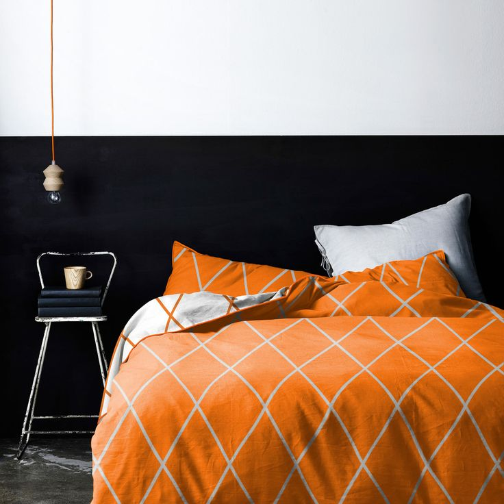 AURA Home, Winter 2014, Diamond quilt cover in Orange Poppy.