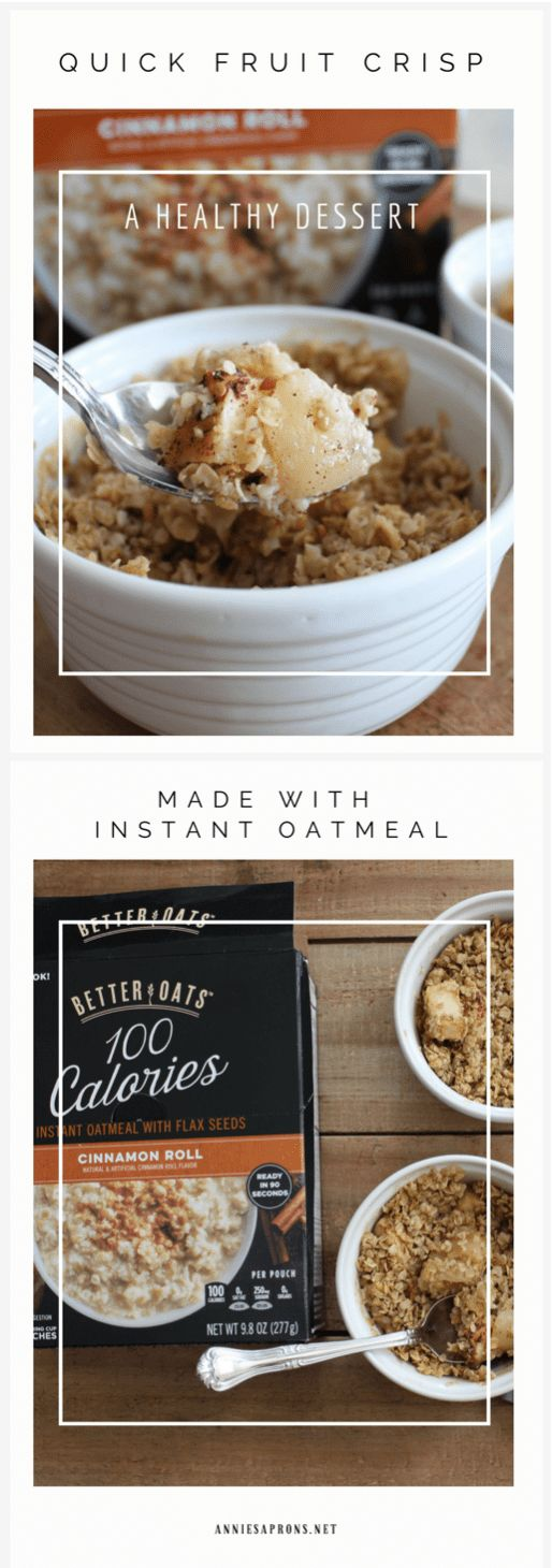 Quick Fruit Crisp. A healthy dessert the whole family will love. You can use a fruit of your choice for this recipe. Made with instant oatmeal. #recipes #healthyrecipes #instantoatmeal