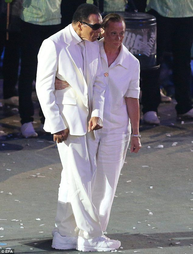 Hero: Muhammad Ali made an appearance at the Olympics opening ceremony in London last night