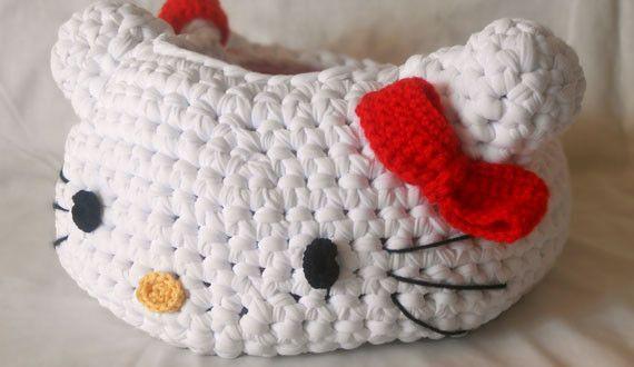 Hello Kitty - crochet basket - free pattern (ita)