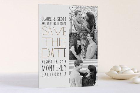 Film Strip Foil-Pressed Save the Date Cards by annie clark at minted.com