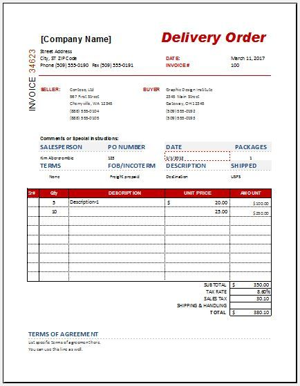 3 delivery order templates free printable word excel pdf