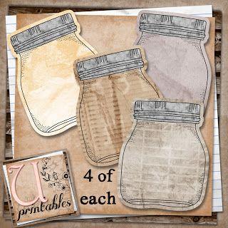 FREE Printable - Vintage Mason Jar Journal tags for Smash books or Scrapping U printables by RebeccaB: