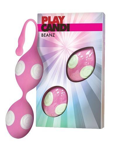 Play Candi Beanz - pink fra PlayCandi - Sexlegetøj leveret for blot 29 kr. - 4ushop.dk - Flotte kærlighedskugler med spændende hvid/pink struktur og indvendige stimulationskugler.