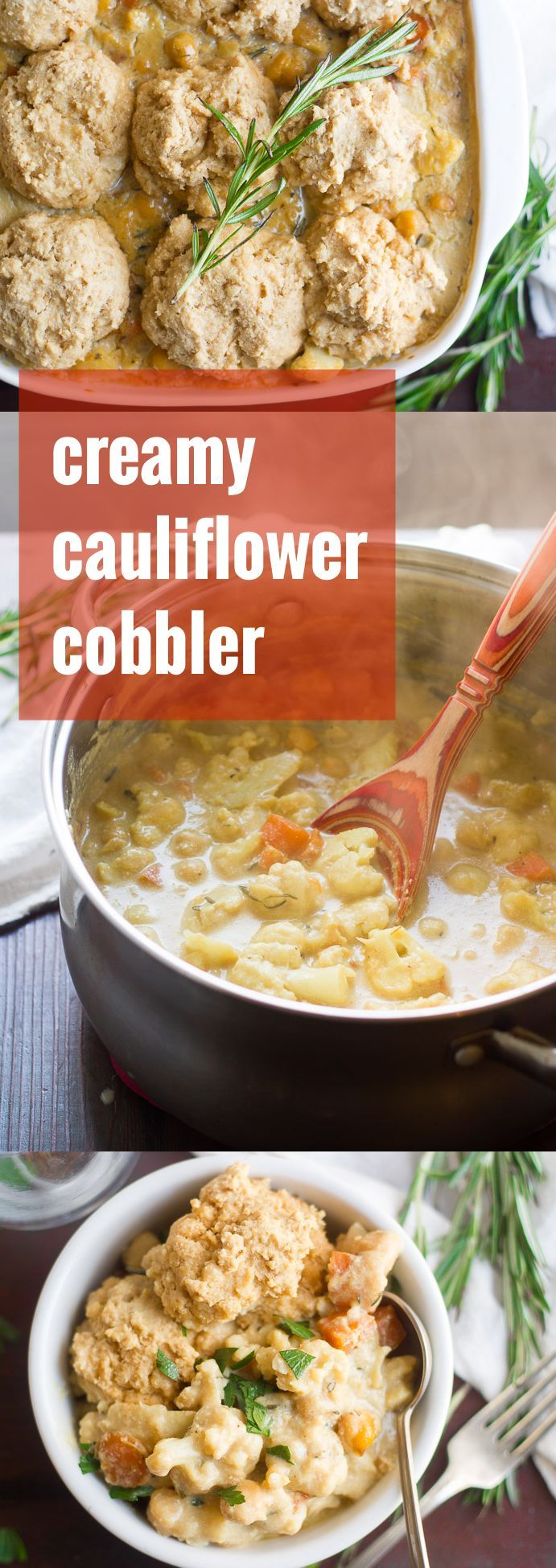 Tender bits of cauliflower, carrots, parsnips and chickpeas are simmered in creamy dairy-free sauce and baked up in a fluffy biscuit-topped casserole to make this savory vegan cobbler.