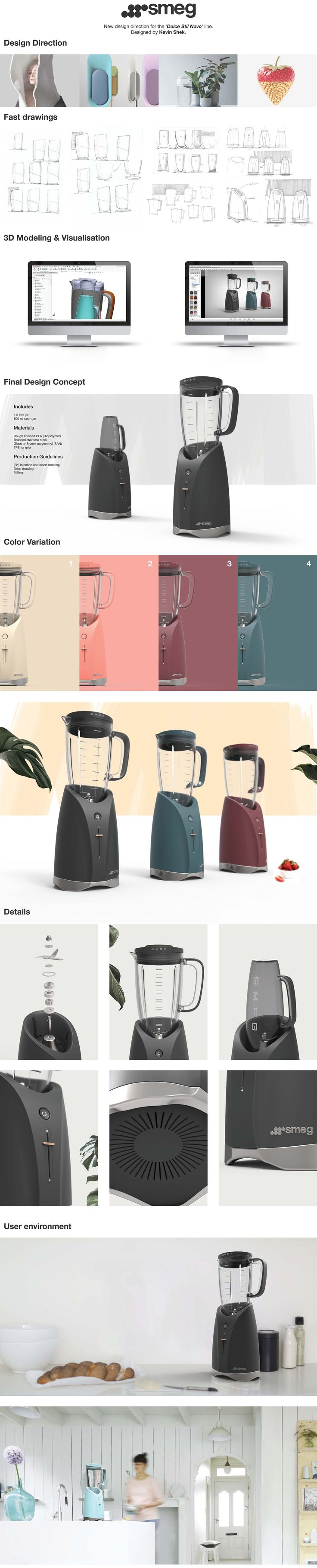 SMEG Blender concept design by Kevin Shek. A new design direction for the 'Dolce Stil Novo' product line.