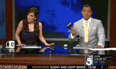 The multitasker who's getting in his 15 minutes NO MATTER WHAT. | 17 News Anchors That Are Having A Rough Day