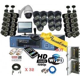 Sistema profesional de 32 canales en tiempo real con camara PTZ incluida y la mas alta tecnologia de seguridad en el mercado. Este equipo cuenta con HDMI, Wi-Fi, HD y mas...
