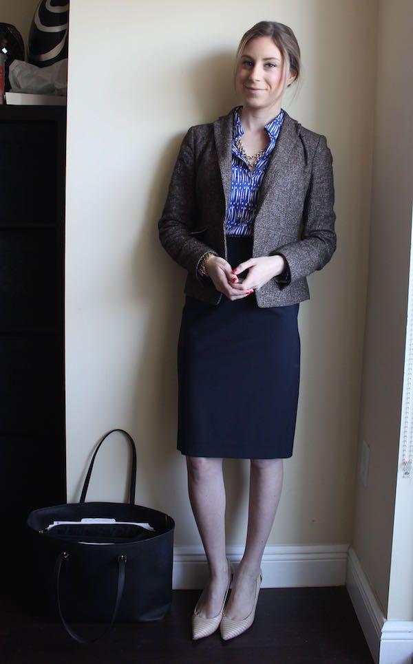 Ikat Cobalt Blouse Brown Tweed Jacket Navy Skirt