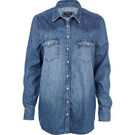 denim look shirts for women   Mid wash denim shirt - tops - sale - women