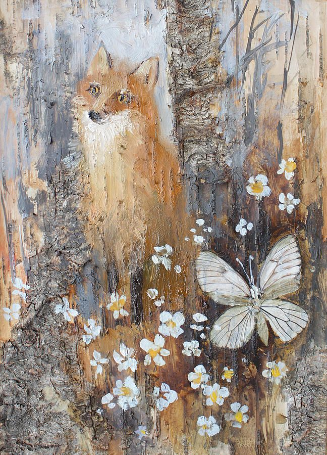 Fox Painting - Fox And Butterfly by Ilya Kondrashov #RussianArtistsNewWave #OriginalArtForSale  #OriginalPainting #IlyaKondrashov #Fox #Butterfly #ArtForKids #PaintingonBirchBark #Russia #Painting