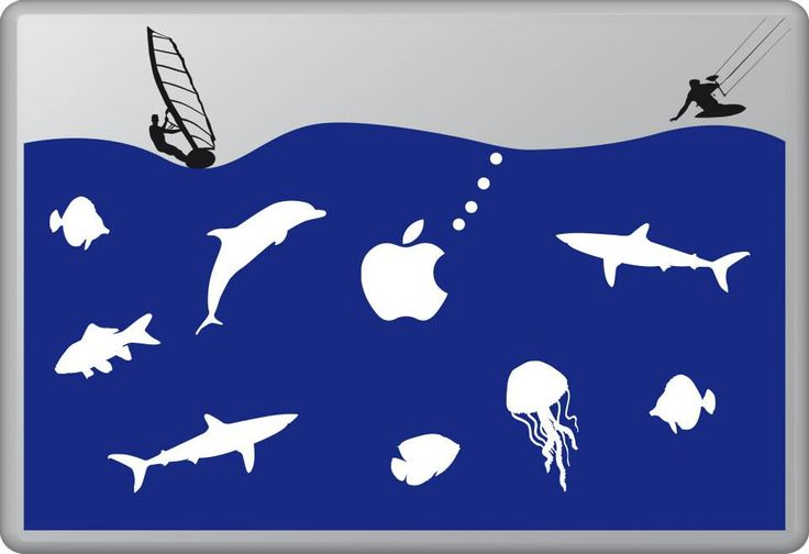 The Life Aquatic 2 | MacBook sticker | #pasteit #sticker #stickers #macbook #apple #blackandwhite #art #drawing #custom #customize #diy #decoration #illustration #design #sea #sealife #underthesea #animals #creatures #sub #sail #sailing #swim #fish #fishes #blue