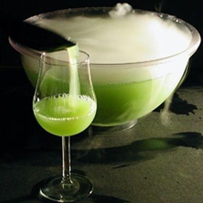 Ectoplasm Halloween Cocktail: 1 oz apple juice 2/3 oz Pisang Ambon liqueur (bright green color, tropical fruit/banana flavored liqueur) 2/3 oz lemon juice 2/3 oz vodka Lemon-lime soda