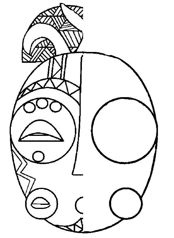 Afriquesymetrie 595 811 coloriages pinterest - Dessin de masque africain ...