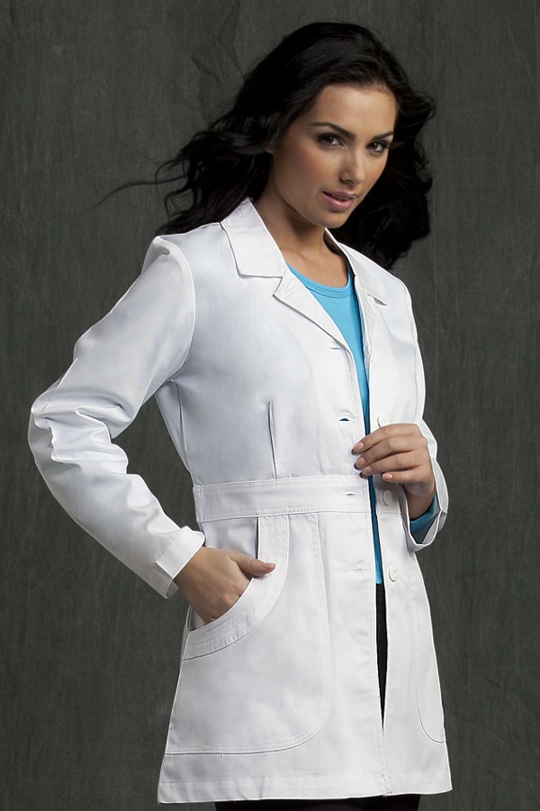 "8630 Lab Coat - Peaches Uniforms from Scrub Couture  65% Poly 35% Cotton Twill  31"" back dart lab  Waist band detail  Oversized pockets with multi-stitch detail  Double needle top stitch  2 - 20  $32"