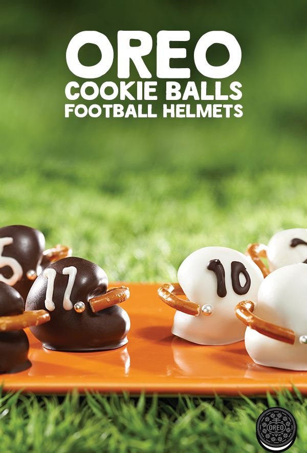 Football helmet shaped OREO cookie balls will surely be a Thanksgiving Day football favorite.