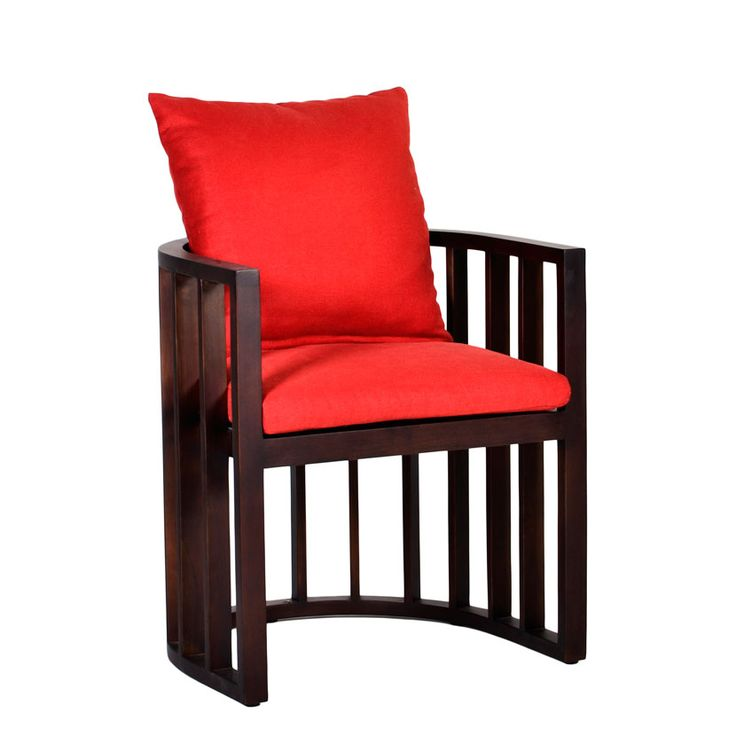 Samui Chair. Half rounded dining chair with nice red cushions.