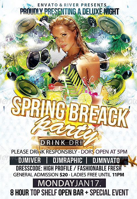 24 best Spring Break Party Flyer Templates images on Pinterest - spring flyer template