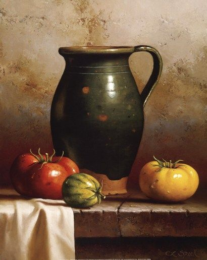 Green Pitcher, Heirlooms & Cloth Fine-Art Print by Loran Speck at UrbanLoftArt.com