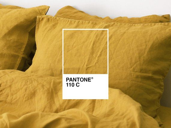 3 Piece Washed Linen Bedding Set Mustard Yellow Linen Duvet Cover 2 Pillowcases Us Full Us Queen Us King E Linen Duvet Covers Bed Linen Sets Linen Duvet