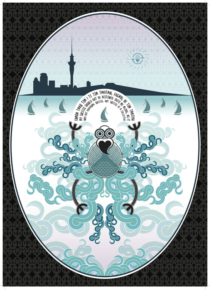 Auckland. ¨Tangaroa¨, the Maori god and guardian of the sea, is depicted in the center of this illustration by Jade Ormsby.