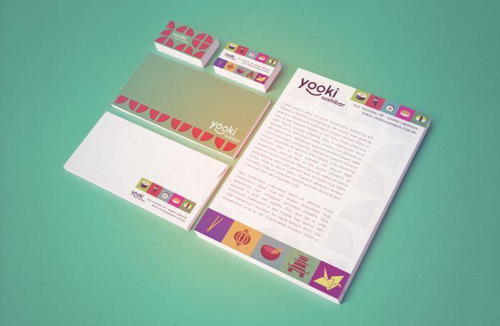 Japanese Food Restaurant #visual #identity #stationery #japanese #food http://www.vitulo.com.br/portfolio/yooki-sushibar/