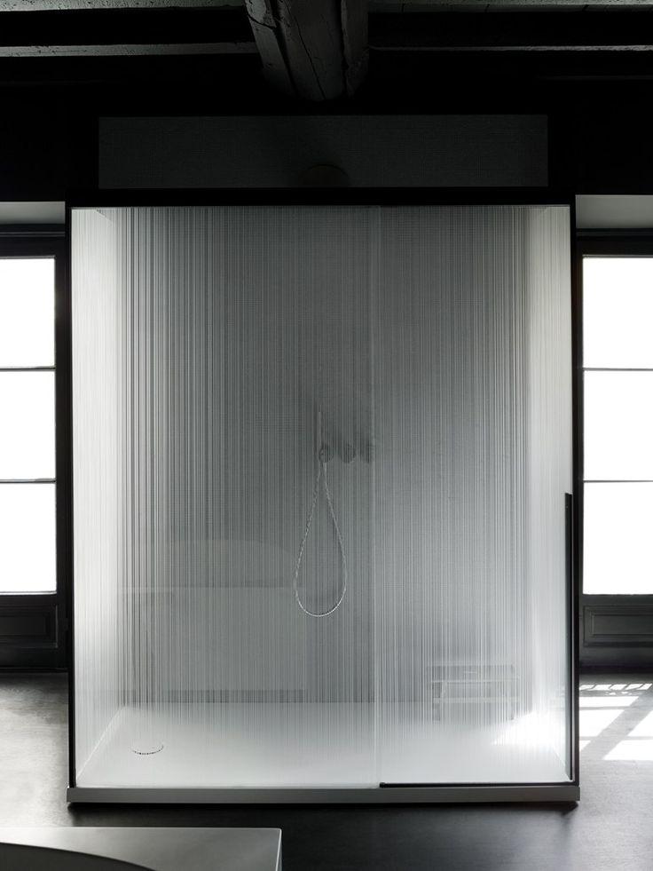 Rectangular glass shower cabin with sliding door SLIDING - Boffi