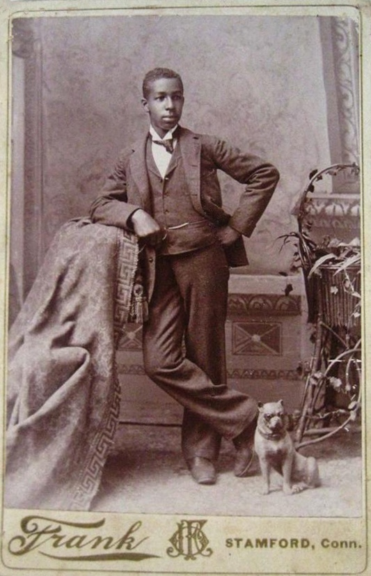 +~+~ Antique Photograph ~+~+  Young African American man with Boston Terrier Statue.