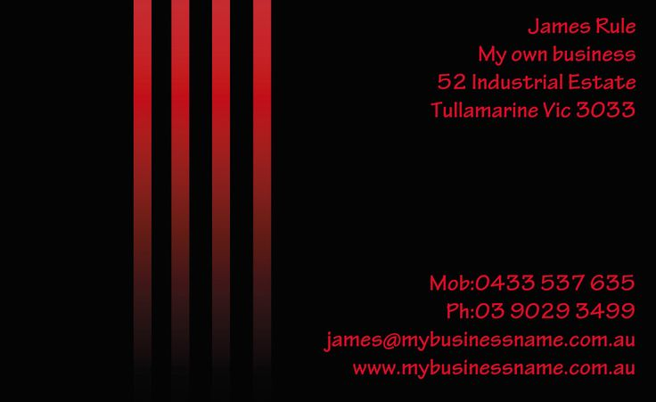 Red Stripes business cards in team colours