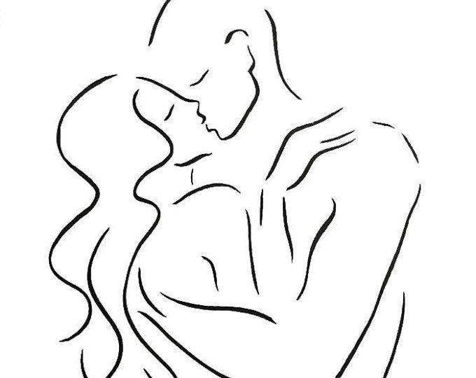 A3 - 11,7 x 16,5 küssen paar Skizze. Schwarz / weiß Strichzeichnung. Liebhaber-Kunst.