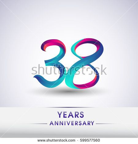 thirty eight years anniversary celebration logotype blue and red colored, 38th birthday logo on white background