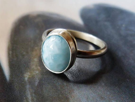 Larimar ring handmade metalwork ring natural jewelry blue