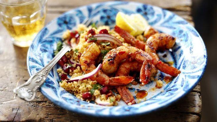 Piripiri prawns and harissa couscous Recipe Food