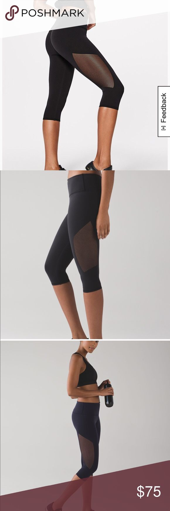 NWT Lululemon Black Reveal Crops Super cute crops from Lululemon with Open hole detailing on the sides. Has pocket in waistband. Fabric is four way stretch which gives you a naked sensation feel so that you are most comfortable! Size 4. NWT never worn before! Sold out online. lululemon athletica Pants Leggings