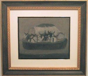 49-057-O Music Il traghetto 1949 olio su tela cm 33,5x41 br
