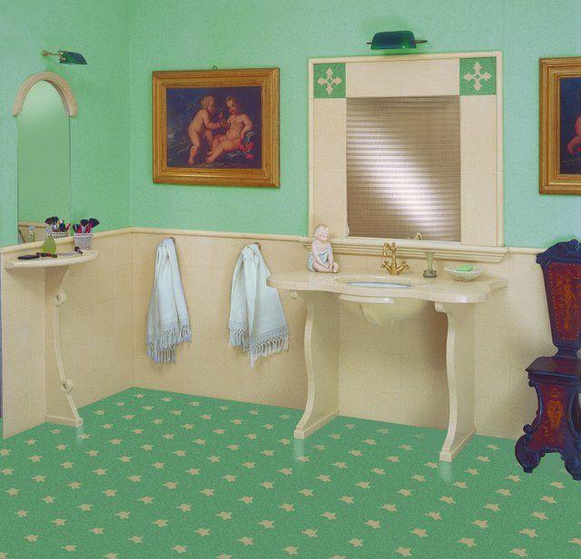 Pavimento tappeto t45. Consolle lavabo e consolle trucco in graniglia art. s105 albicocca. Rivestimento art. 105 albicocca, listello di finitura L3. Corrnice specchio mattonelle in graniglia art. 105 albicocca e decori singoli ds2. Listello base specchio L6. #bagno #multicolor #colors #decorifloreali #tiling #terrazzotile #bathroom #detail #graniglia #pavimento #artigianato #handmade #decoration #creative #bespoke #madeinitaly #interiordesign #floors #floortile #green