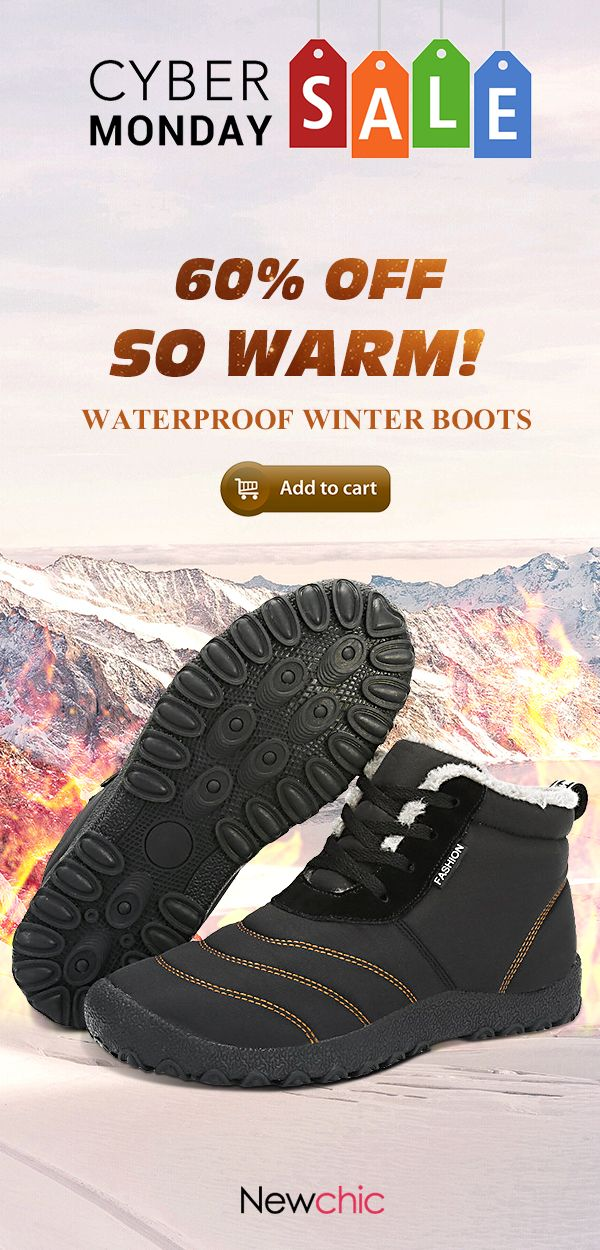 ceb00875a Cyber monday big sale warm winter boots here at Newchic.com. Special offer  continues after black friday. [60%off]Large Size Men's Stripe Waterproof  Plush ...
