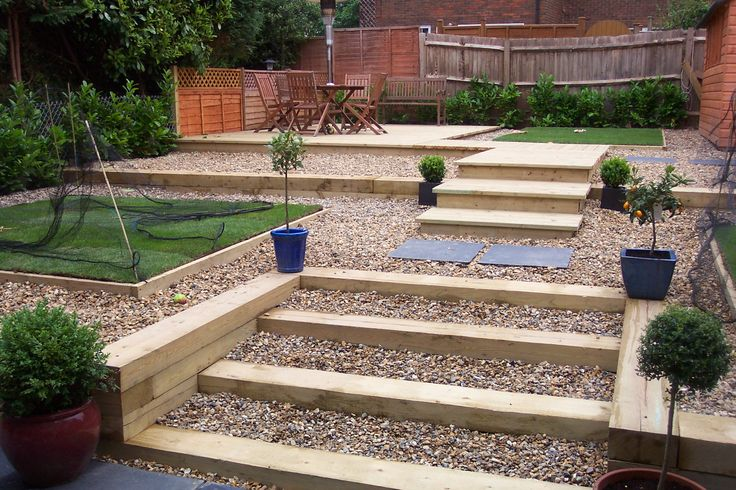 New sleepers can make great looking steps in the garden for Garden designs using sleepers