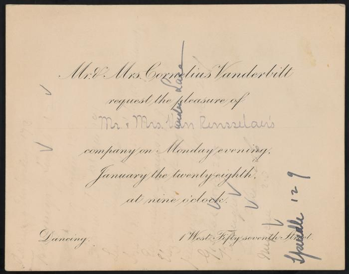 """An American Gilded Age formal invitation from:  Mr. [Cornelius] & Mrs. [Alice]  Vanderbilt. """"Requesting the pleasure of Mr. & Mrs. Van Rensselaer's company"""". The formal """"Dancing"""" party, took place at 9 o'clock pm, on January 28th, c.1884, at the Vanderbilt mansion. The Cornelius Vanderbilt 11 residence, was located at: 1 West 57th St, & 5th Avenue, NYC. ~ {cwlyons} ~ (Larger image via the MCNY)"""