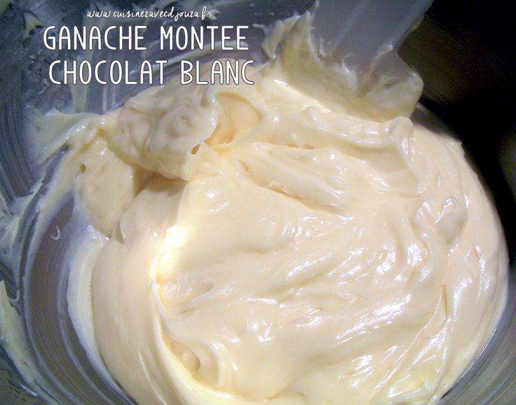 Pour la ganache montée chocolat blanc, il s'agit toujours d'un mélange de chocolat, crème liquide chaude et/ou froide qui après être restée au réfrigérateur
