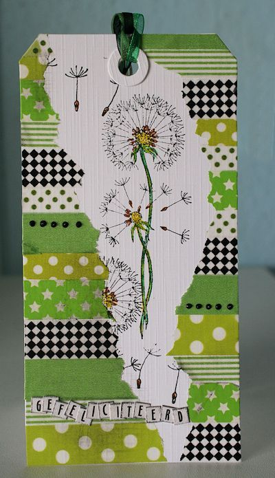 Tag or card idea. This one is washi tape. Try DSP strips. Stamp on tag then cover parts with torn papers. ---De Kaartenkraam: Pluis