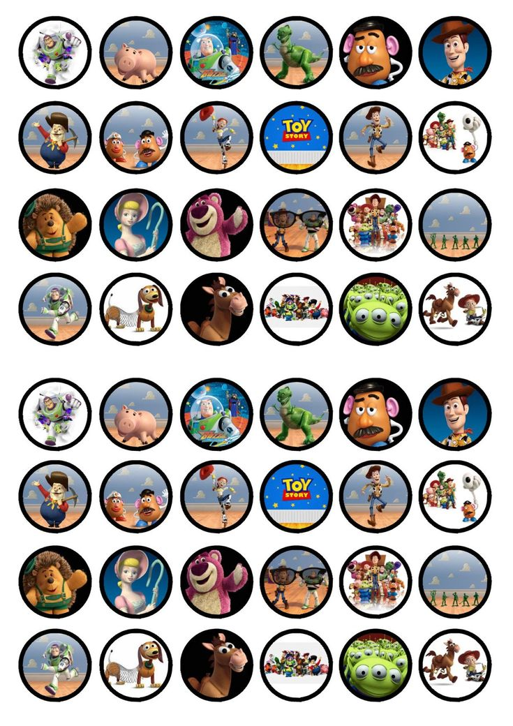 48 toy story edible mini cupcake toppers wafer card disc