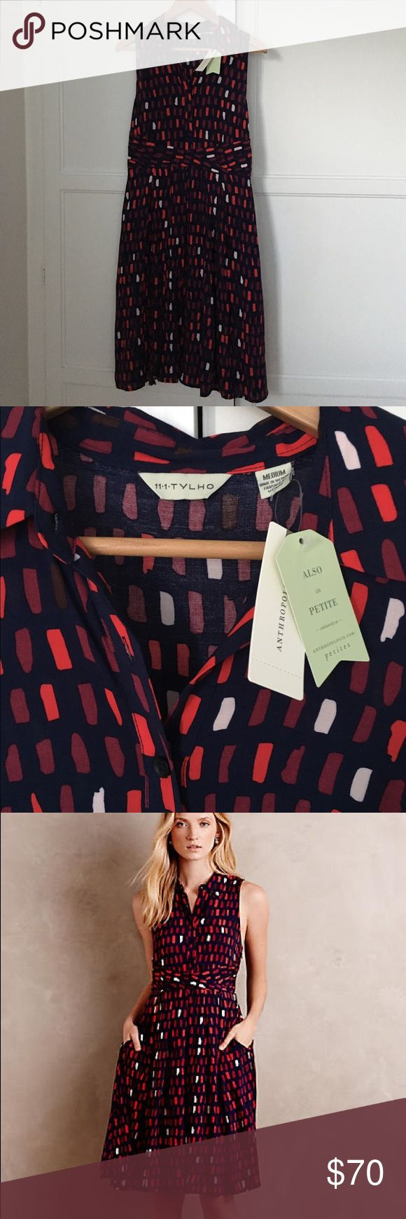 "anthro ""Brynn"" shirt dress Beautiful shirt dress with navy and red, maroon and white print. Woven rayon, machine wash. NWT. Anthropologie Dresses"