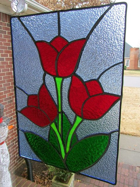Stained glass tulips panel jayne pinterest glasses for Glass cut work designs