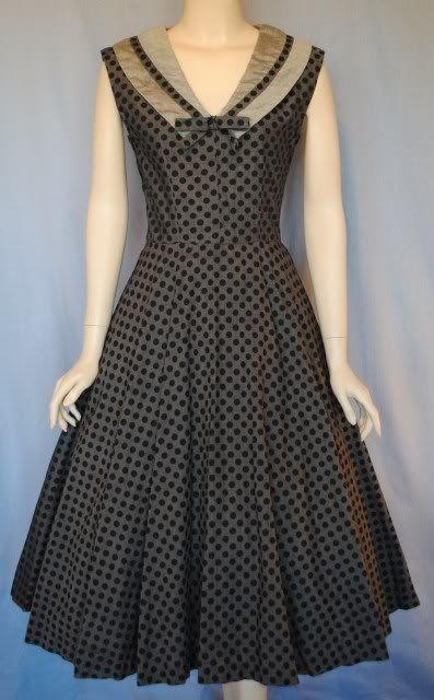 Vintage 50s Polka Dot Full Skirt Dress with Sailor Collar from VIVIAN BELLE VINTAGE