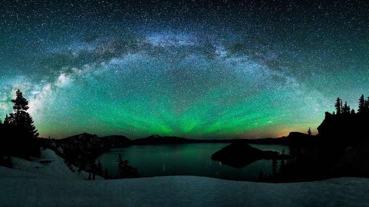 Aurora Borealis And The Milky Way Above Mountain Lake Wallpaper