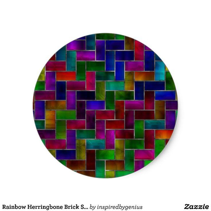 Rainbow Herringbone Brick Stained Glass Window Sticker