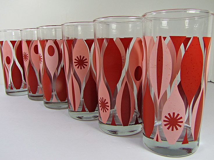 #retrobarware Vintage MCM TEARDROP TUMBLER Set/6 Glass Pink Red Barware  Glassware By LavenderGardenCottag