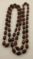 Vintage Retro chunky 2 in one beaded brown Necklace w/ unique combinable clasps